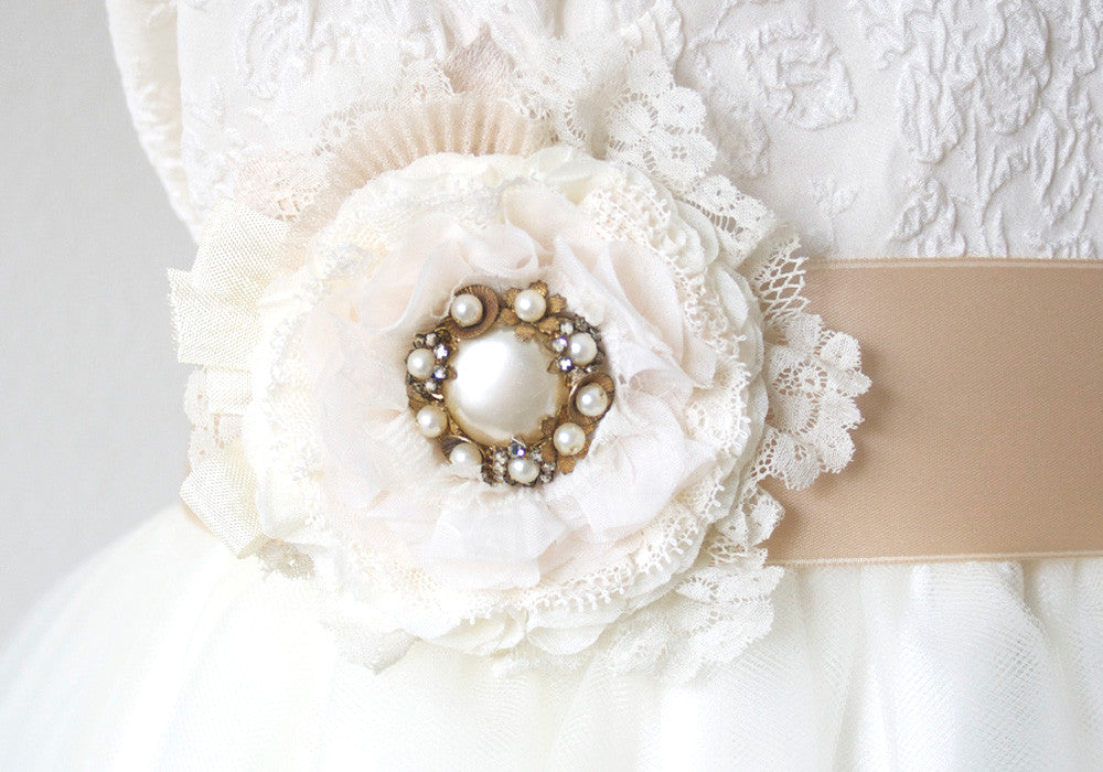 lace flower bridal sash