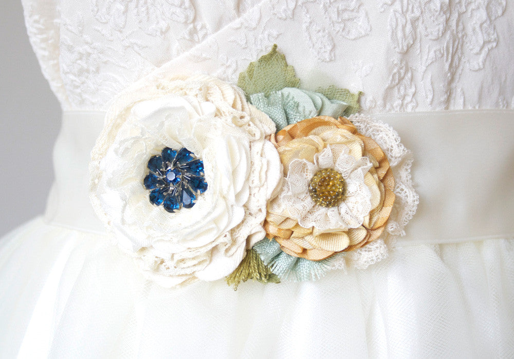 navy blue and yellow floral wedding dress belt