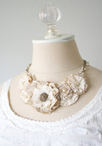 Fabric Flower Statment Necklace - Ivory and Natural White