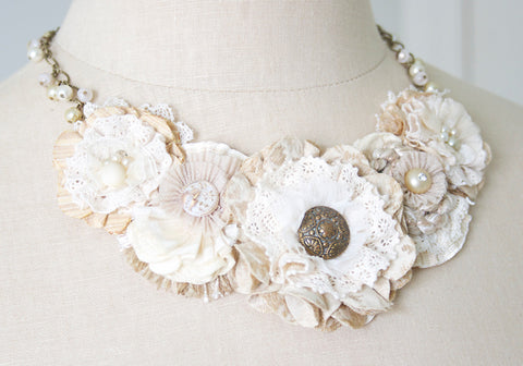 fabric flower statement necklace - ivory white