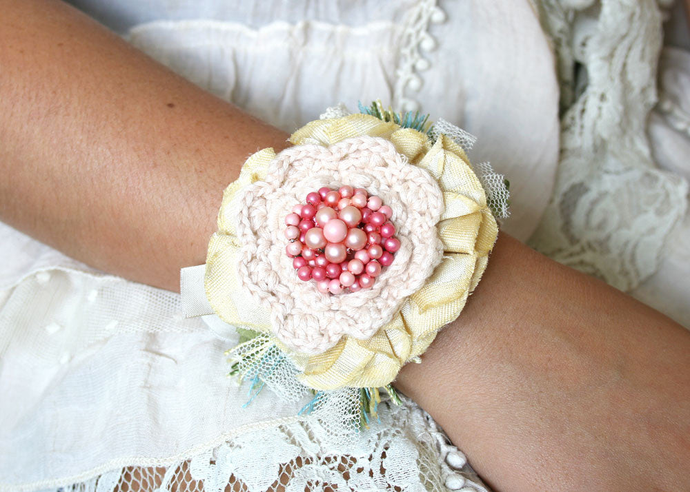 fabric flower wrist corsage bracelet, pink yellow and turquoise