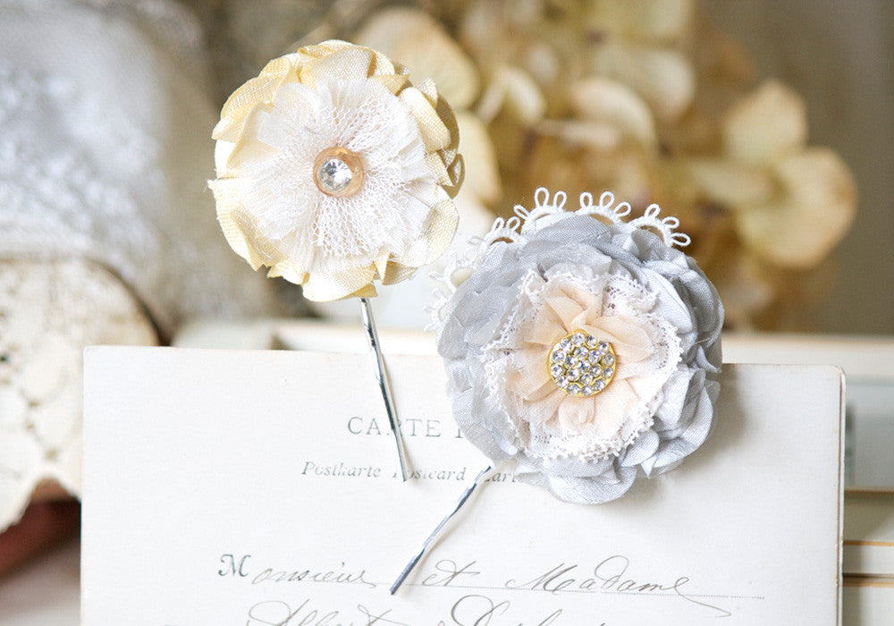 floral hair pins - yellow and grey