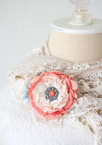 Fabric Flower Pin - Coral Peach and Turquoise Blue