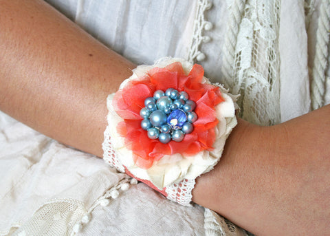 Flower Corsage Bracelet - Coral, Blue and Ivory