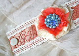 flower corsage bracelet in coral and blue textiles