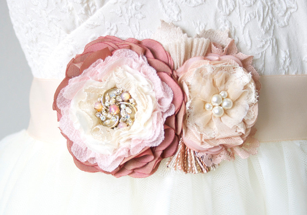 Bridal Sash with Pink Flowers