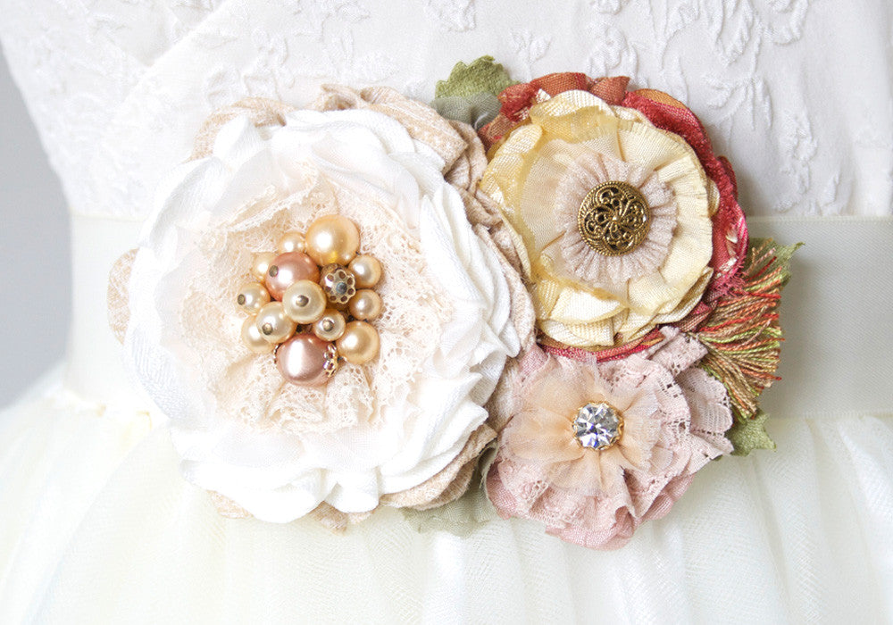 Bridal Belt with Fall Flowers