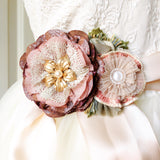 Wedding gown sash with fabric flowers - Purple, Pink, Mauve