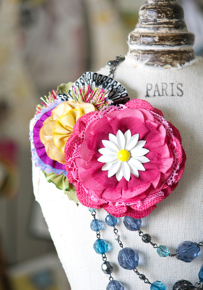 colorful fabric flower pin