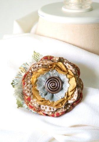 Colorful Floral Button Brooch