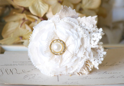 Pearl Hair Flower - Ivory White