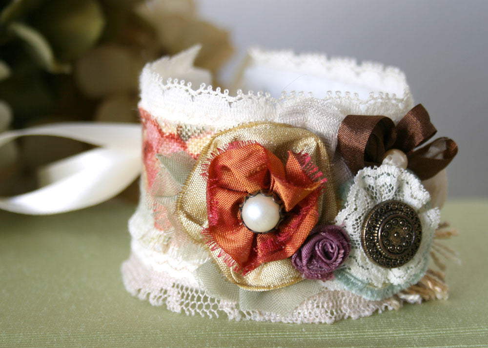 colorful fabric flower cuff bracelet