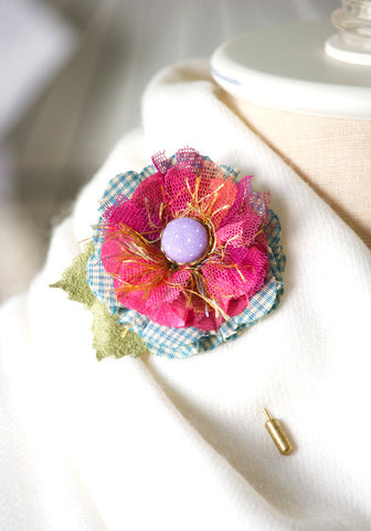 Hot Pink Lapel Flower Pin