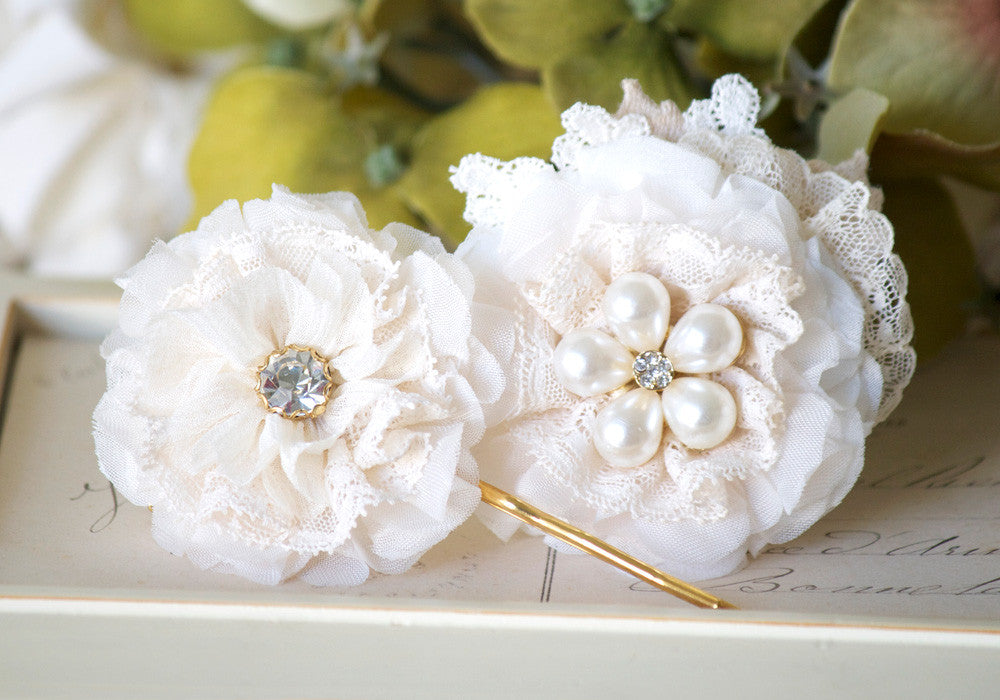ivory white floral hair pin set