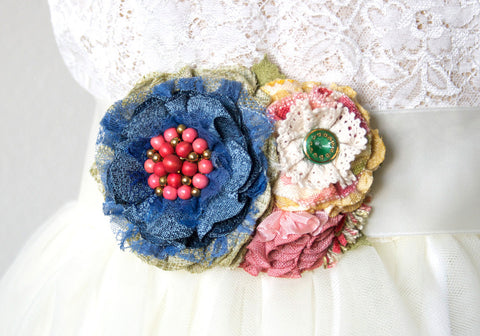 Wedding Dress Belt with Colorful Flowers