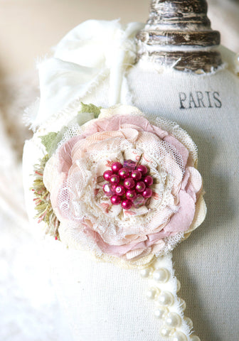 Pink Fabric Flower Pin