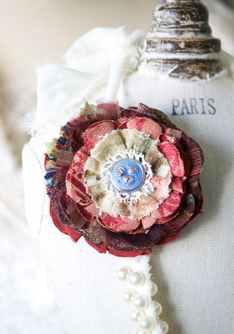 Fabric Flower Pin ~ Burgundy Blue