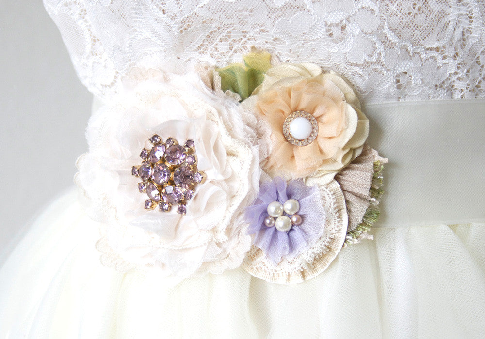 Colorful floral bridal sash