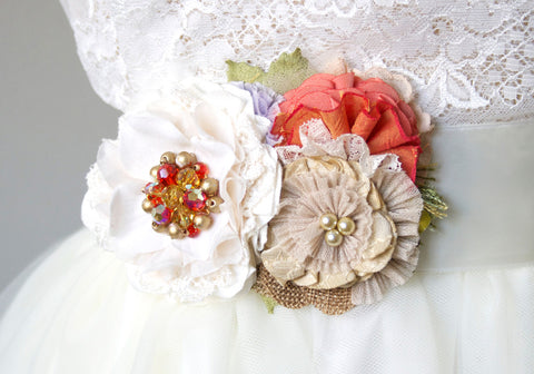 Floral Bridal Sash - Colorful Autumn Bride