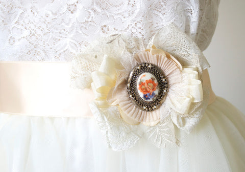 Vintage Cameo and Lace Sash Brooch