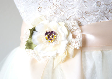 Bridal Belt Flower - Purple Pansy Sash Pin