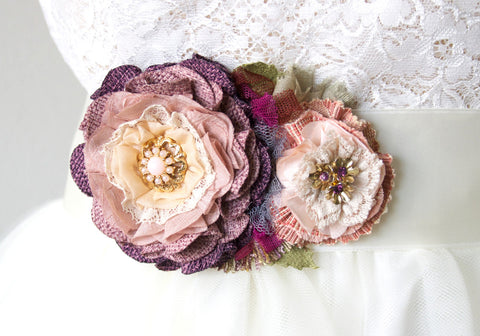 Floral Bridal Sash - Plum Purple and Pink Blossoms