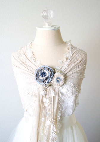 French Blue Floral Bridal Sash