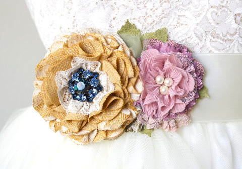 Bridal Belt ~ Yellow and Lilac Blossoms