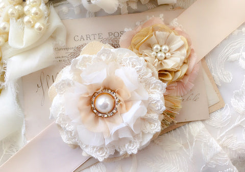 Wedding Dress Flower Belt - Rustic Country Bride