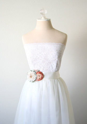 Coral and Mint Floral Sash