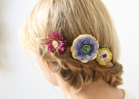 bobby pin hair flowers