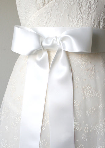 white bridal sash