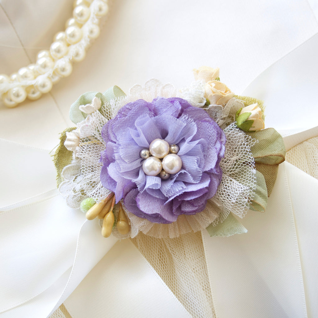 Purple Flower Bridal Belt