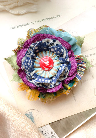Whimsical Fabric Flower Pin