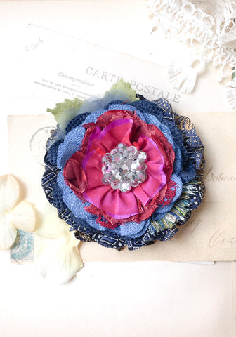 Fabric Flower Pin ~ Fuchsia Blue Blossom