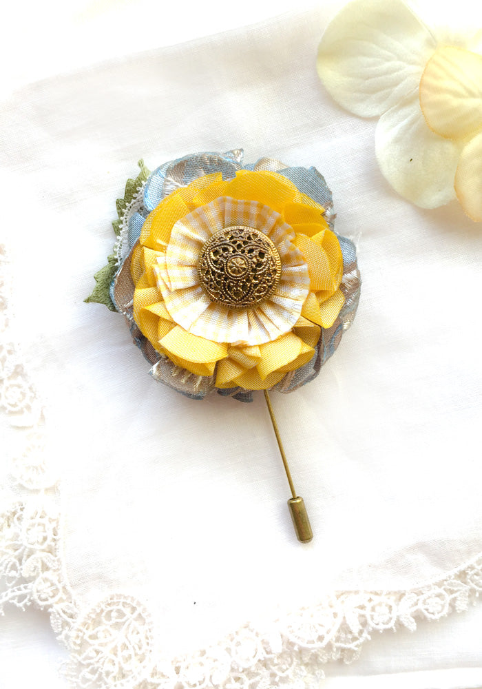 Fabric flower accessories brooches and pins by rosy posy designs boutonniere flower pin blue and yellow mightylinksfo