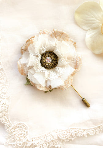 Rustic Boutonniere ~ Ivory Blossom