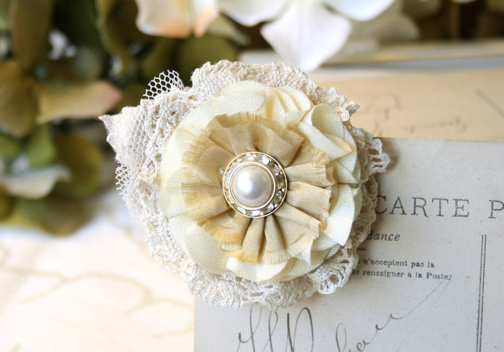 pearl and rhinestone floral bridal hair clip