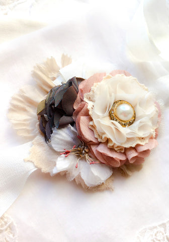 Floral Wrist Corsage ~ Navy Pink Pearl