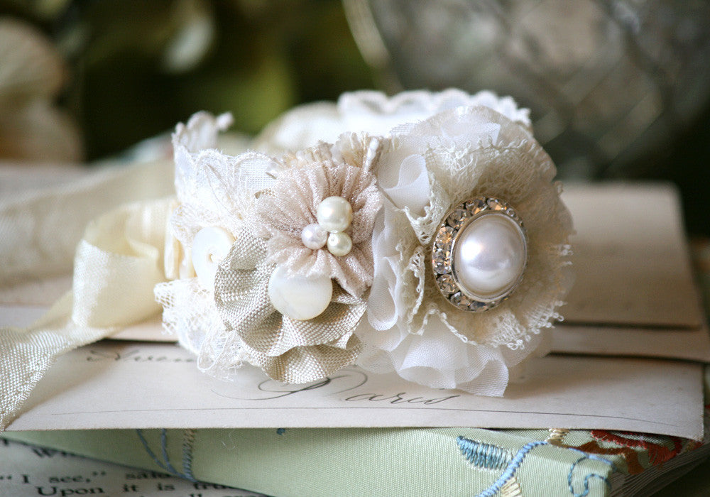 fabric flower wedding bracelet