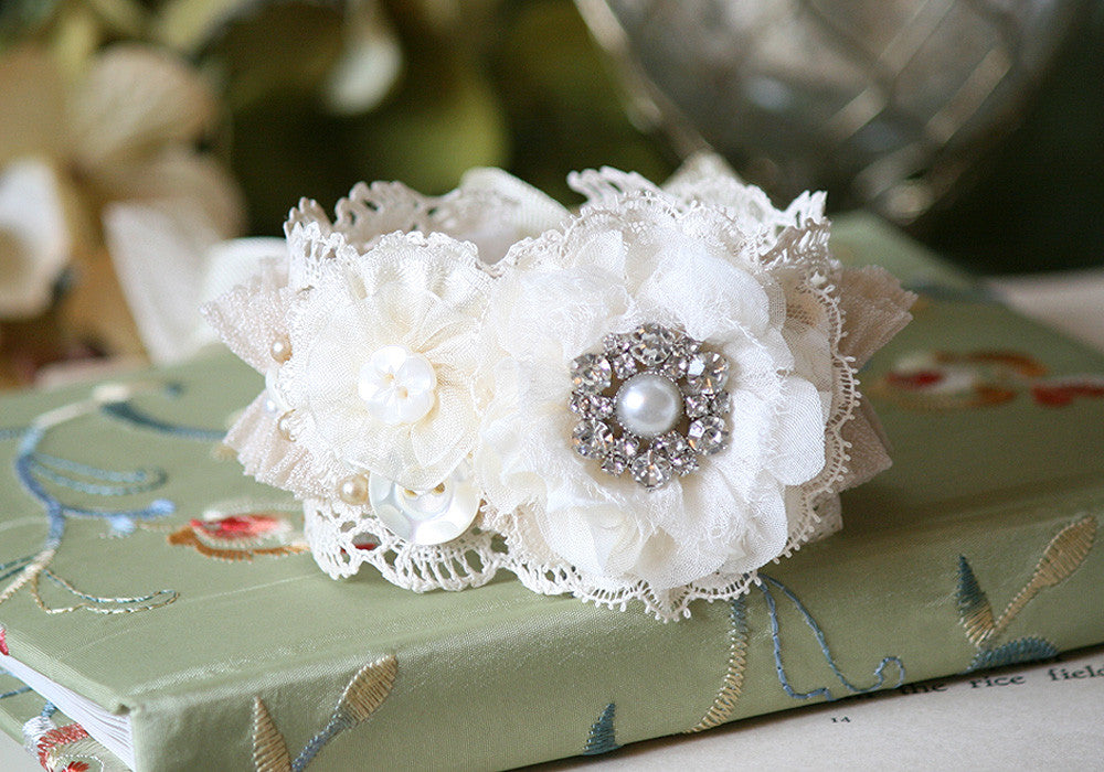 Shabby Chic Floral Bracelet with Pearl Rhinestone Button