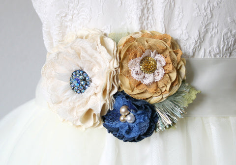 blue and yellow floral sash