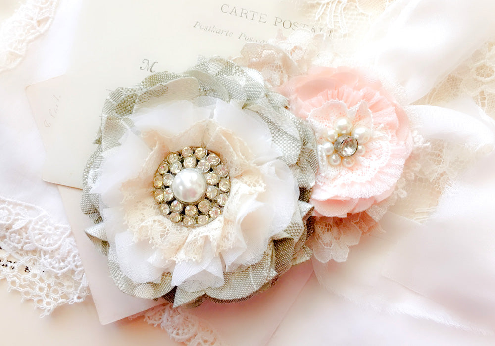 pink and gray floral sash