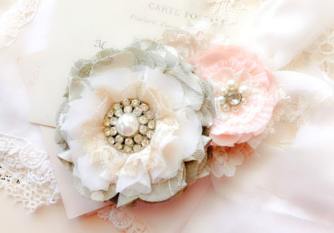 Wedding Dress Sash ~ Pink and Gray Blossoms