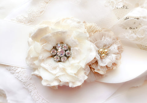 Ivory White Floral Bridal Belt