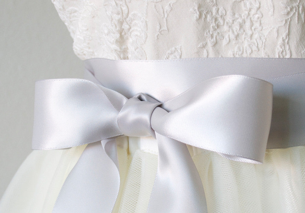 Light Grey Satin Ribbon Bridal Sash