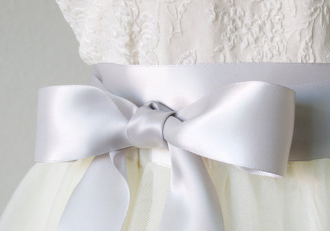 Light Grey Satin Ribbon Sash ~ 1.5 Inches Wide