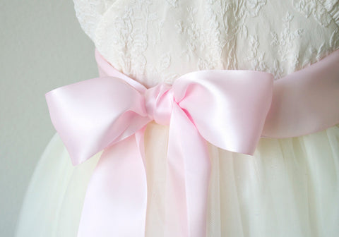 Light Pink Satin Ribbon Belt ~ 2.25 Inches Wide
