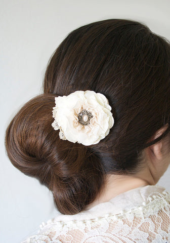 Vintage Pearl Floral Hair Clip -  Ivory White Fabric Hair Flower