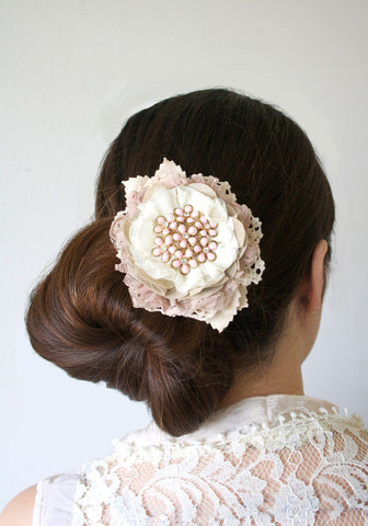 Large Floral Hair Barrette with Vintage Jewel and Antique Lace -  Blush Pink and Ivory
